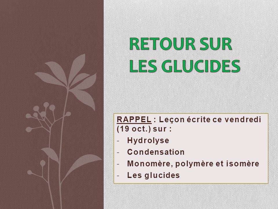 RAPPEL : Leçon écrite ce vendredi (19 oct.) sur : -Hydrolyse -Condensation -Monomère, polymère et isomère -Les glucides