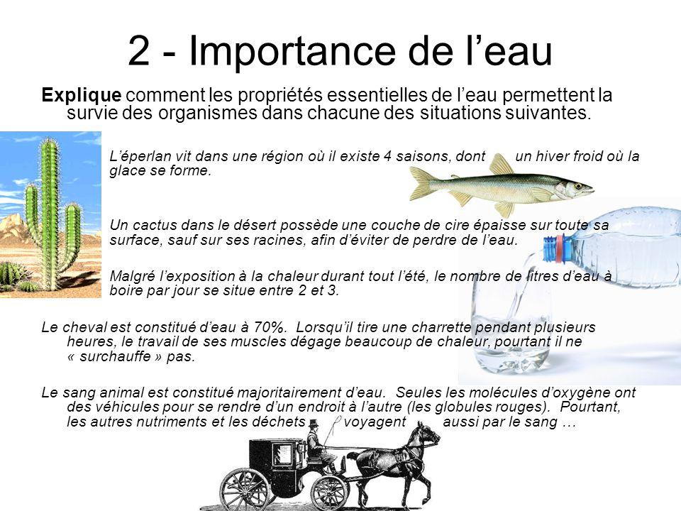 2 - Importance de leau Explique comment les propriétés essentielles de leau permettent la survie des organismes dans chacune des situations suivantes.