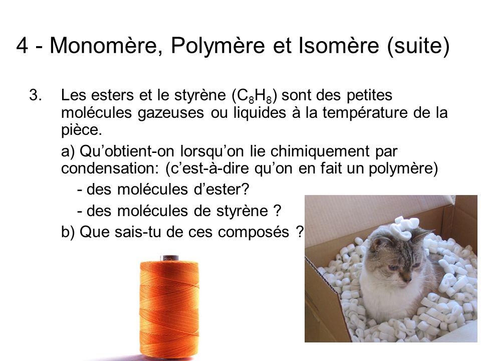 4 - Monomère, Polymère et Isomère (suite) 3.