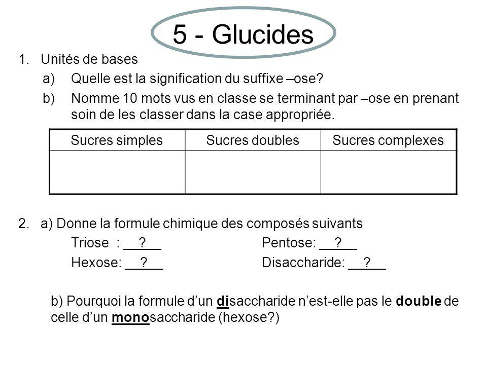 5 - Glucides 1. Unités de bases a)Quelle est la signification du suffixe –ose.