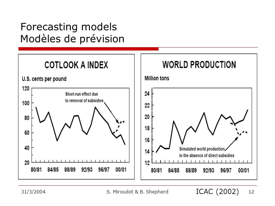 31/3/2004S. Miroudot & B. Shepherd12 ICAC (2002) Forecasting models Modèles de prévision