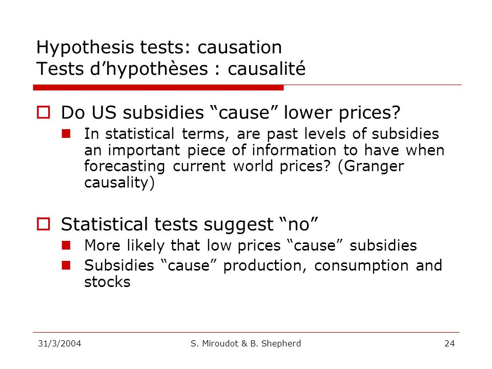 31/3/2004S. Miroudot & B. Shepherd24 Do US subsidies cause lower prices? In statistical terms, are past levels of subsidies an important piece of info