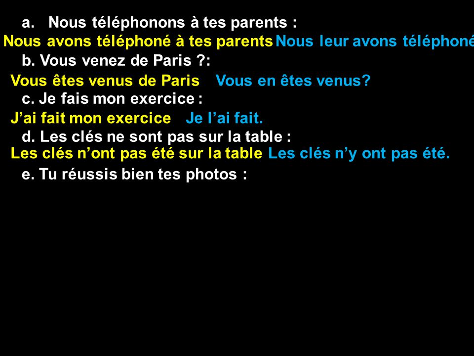 a.Nous téléphonons à tes parents : b. Vous venez de Paris ?: c. Je fais mon exercice : d. Les clés ne sont pas sur la table : e. Tu réussis bien tes p