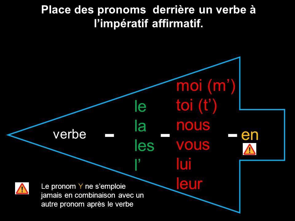 verbe le la les l moi (m) toi (t) nous vous lui leur en Place des pronoms derrière un verbe à limpératif affirmatif. --- Le pronom Y ne semploie jamai