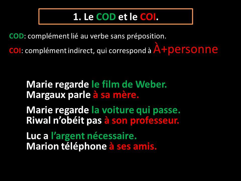 1. Le COD et le COI. COD: complément lié au verbe sans préposition. COI: complément indirect, qui correspond à À+personne Marie regarde le film de Web