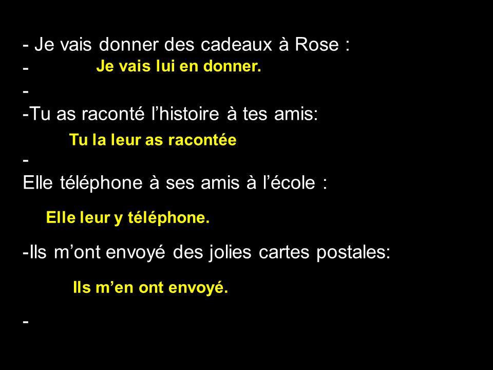 - Je vais donner des cadeaux à Rose : - -Tu as raconté lhistoire à tes amis: - Elle téléphone à ses amis à lécole : -Ils mont envoyé des jolies cartes