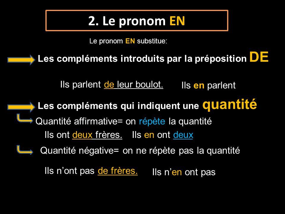 2. Le pronom EN Les compléments introduits par la préposition DE Ils parlent de leur boulot. Ils en parlent Les compléments qui indiquent une quantité