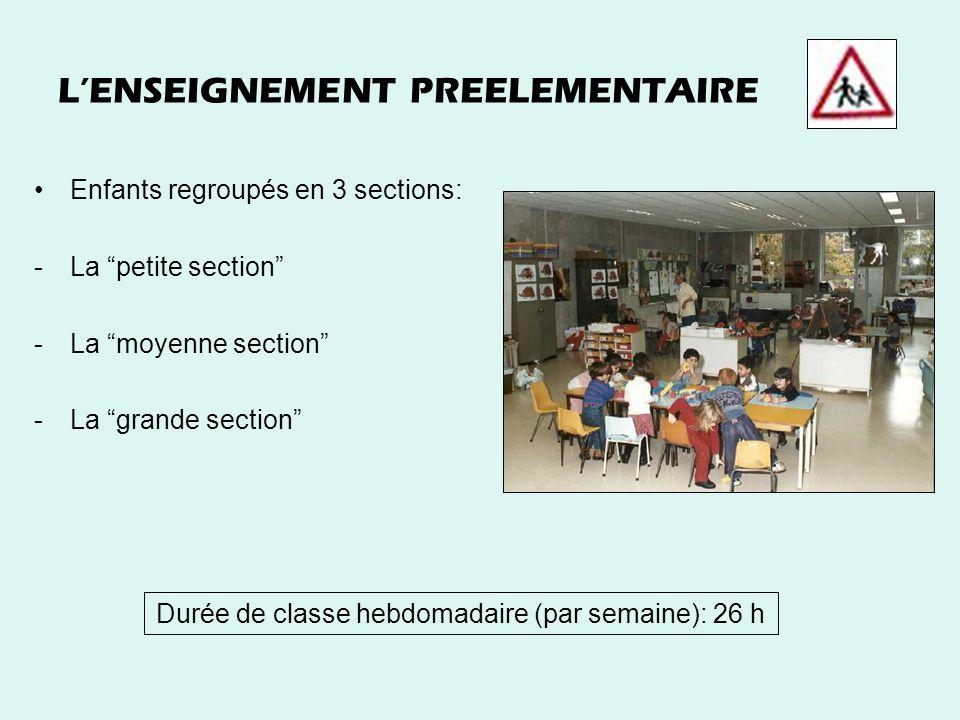 LENSEIGNEMENT PREELEMENTAIRE Enfants regroupés en 3 sections: -La petite section -La moyenne section -La grande section Durée de classe hebdomadaire (