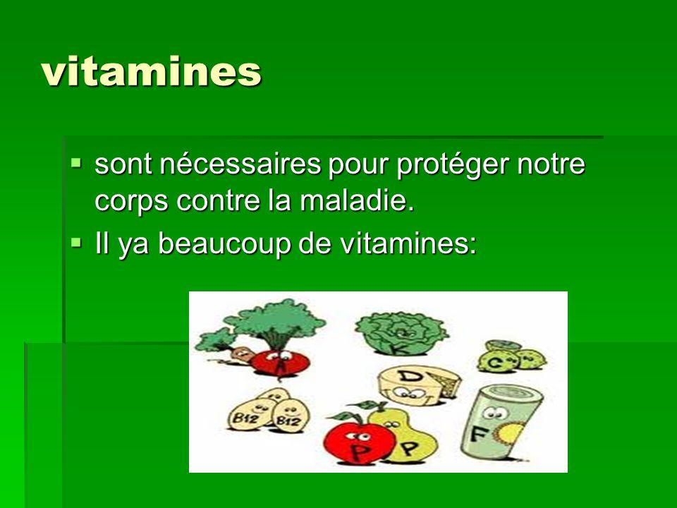 vitamines sont nécessaires pour protéger notre corps contre la maladie.