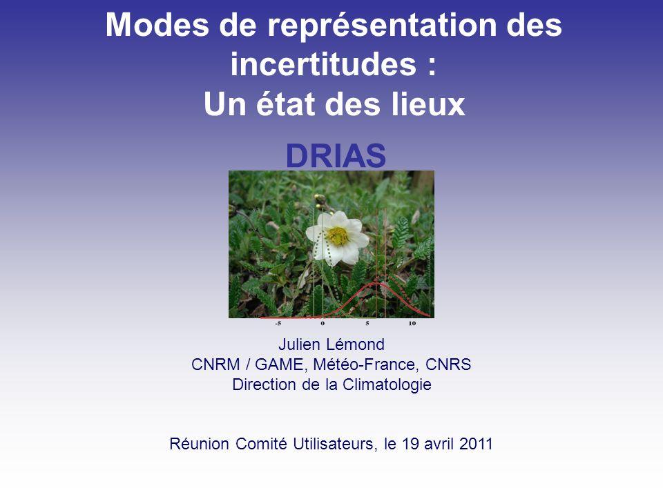 Modes de représentation des incertitudes : Un état des lieux Julien Lémond CNRM / GAME, Météo-France, CNRS Direction de la Climatologie Réunion Comité