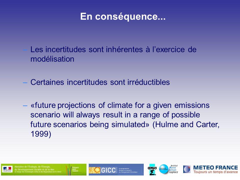En conséquence... –Les incertitudes sont inhérentes à lexercice de modélisation –Certaines incertitudes sont irréductibles –«future projections of cli