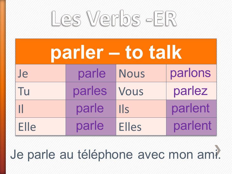 parle parles parle parlons parlez parlent Je parle au téléphone avec mon ami.