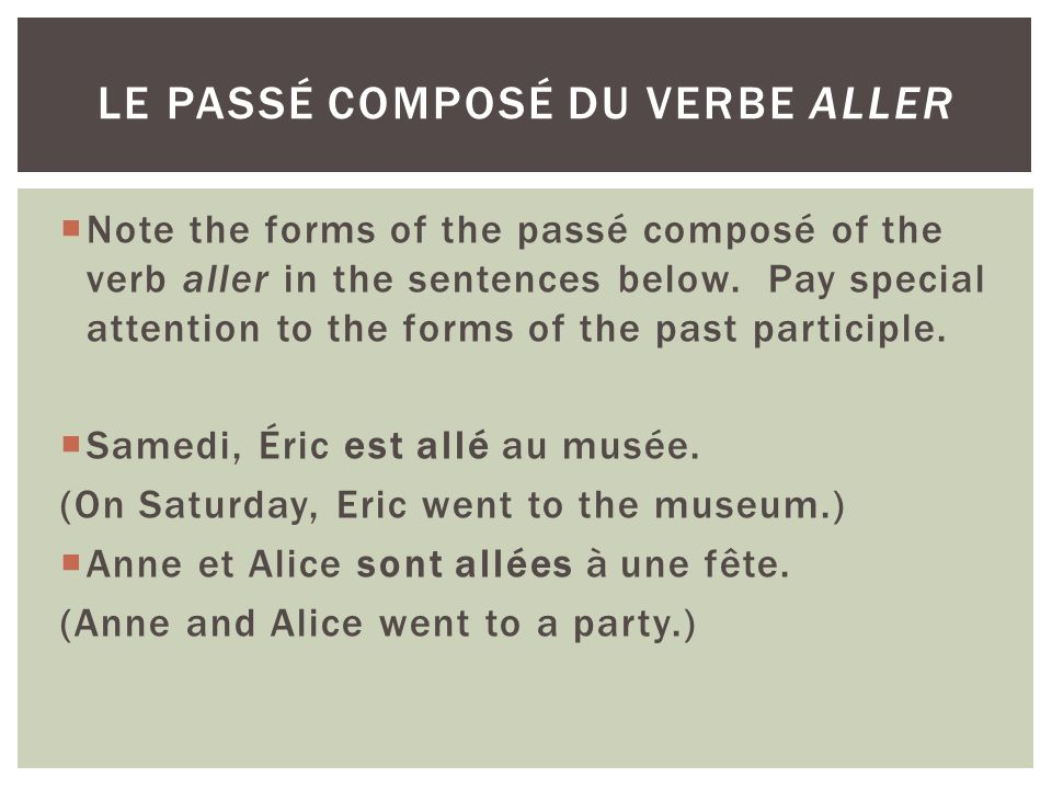 Note the forms of the passé composé of the verb aller in the sentences below. Pay special attention to the forms of the past participle. Samedi, Éric