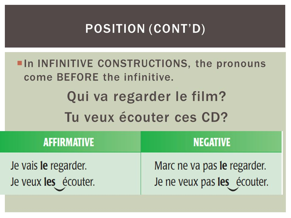 In INFINITIVE CONSTRUCTIONS, the pronouns come BEFORE the infinitive. Qui va regarder le film? Tu veux écouter ces CD? POSITION (CONTD)