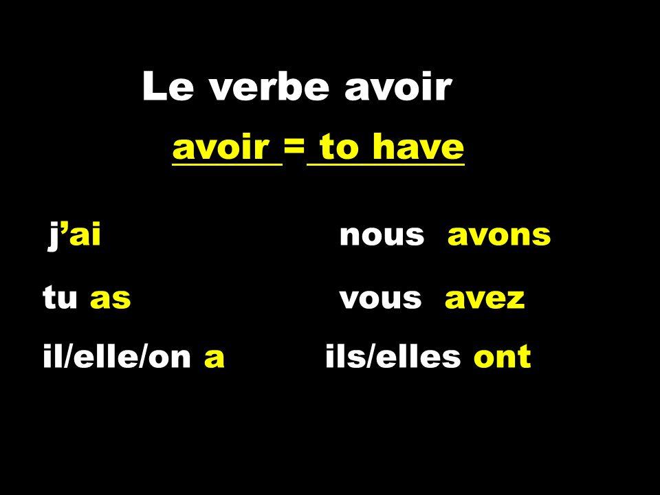 Le verbe avoir jainous avons tu asvous avez il/elle/on a ils/elles ont avoir = to have