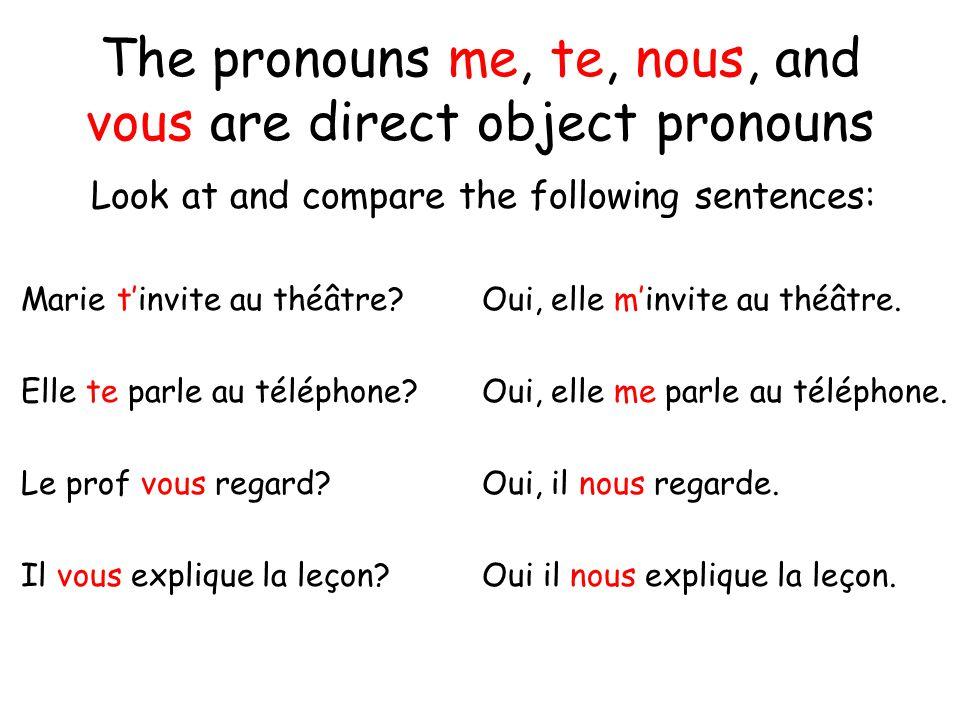 The pronouns me, te, nous, and vous are direct object pronouns Look at and compare the following sentences: Marie tinvite au théâtre? Oui, elle minvit