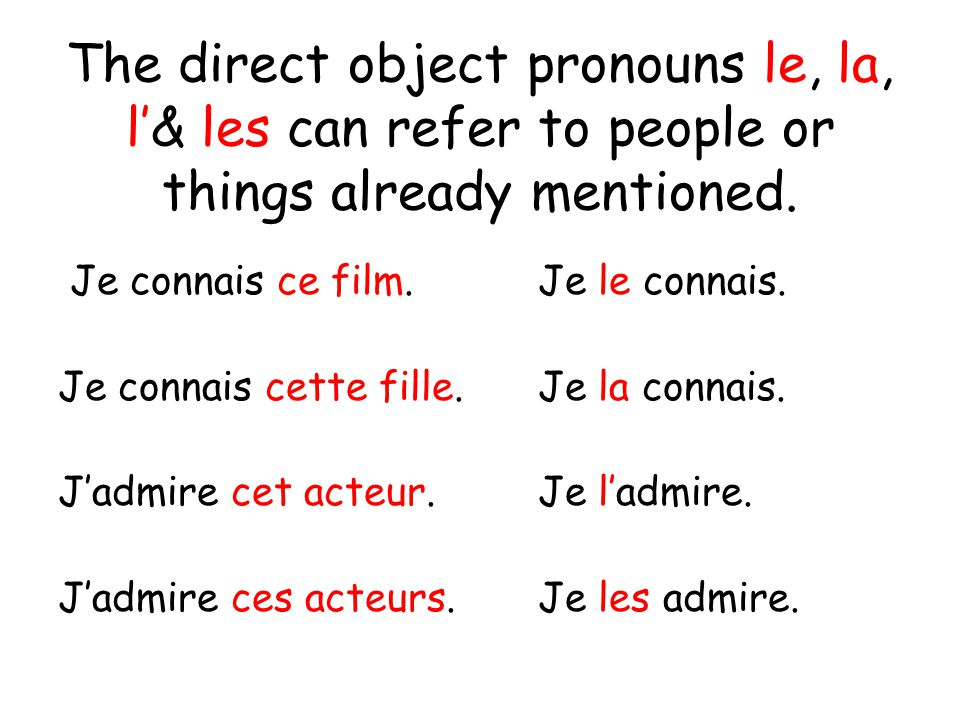 The direct object pronouns le, la, l& les can refer to people or things already mentioned.