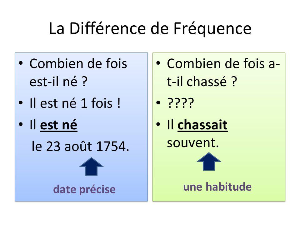 La Différence de Fréquence Combien de fois est-il né ? Il est né 1 fois ! Il est né le 23 août 1754. Combien de fois est-il né ? Il est né 1 fois ! Il