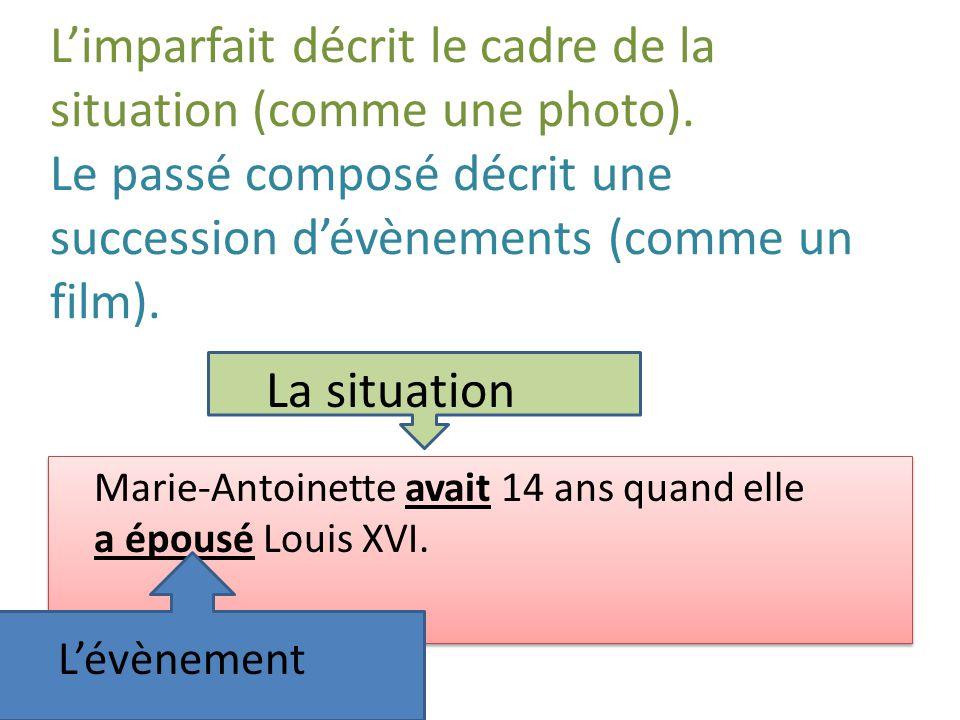 Limparfait décrit le cadre de la situation (comme une photo). Le passé composé décrit une succession dévènements (comme un film). Marie-Antoinette ava