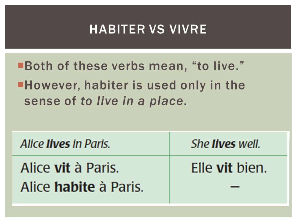 Both of these verbs mean, to live.