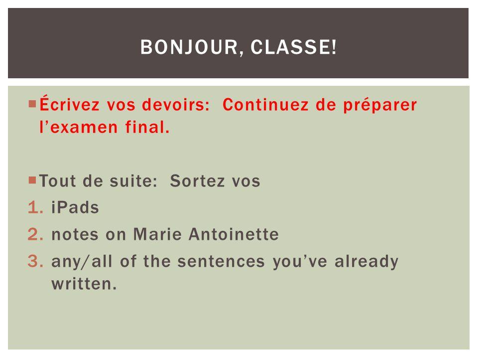 Écrivez vos devoirs: Continuez de préparer lexamen final.