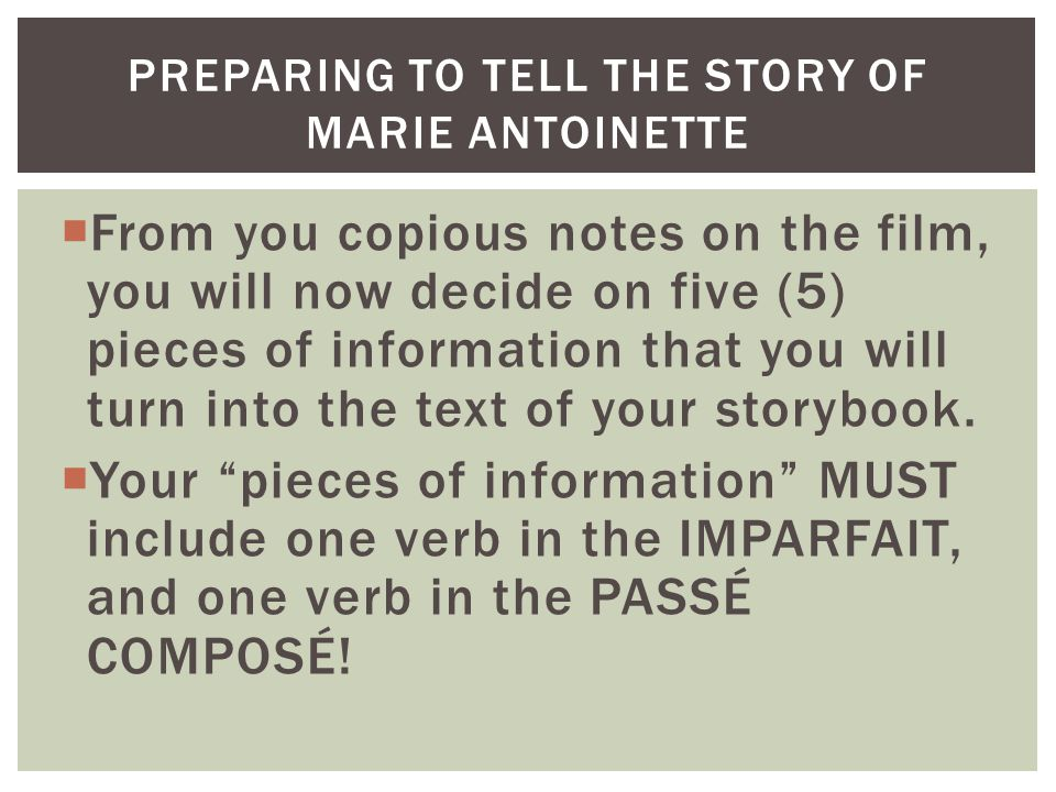 From you copious notes on the film, you will now decide on five (5) pieces of information that you will turn into the text of your storybook.