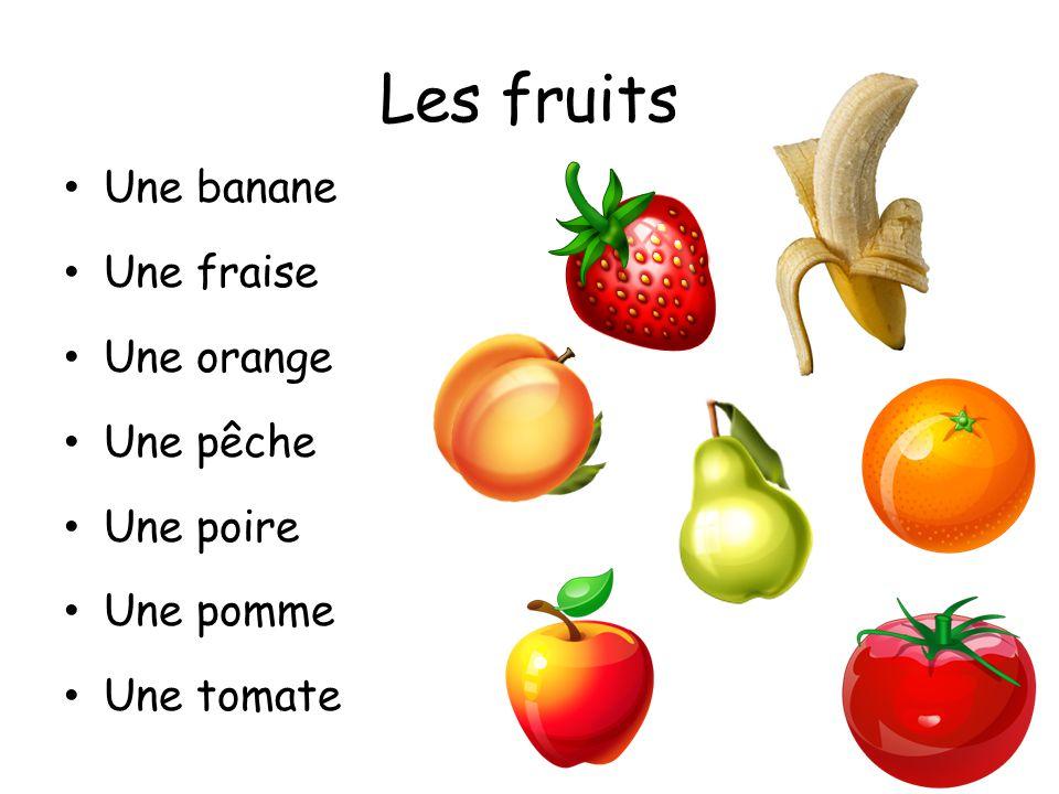 Les légumes Une carotte Un champignon Des haricots verts (m.) Un oignon Des petits pois Un poivron (vert, rouge) Une pomme de terre Une salade