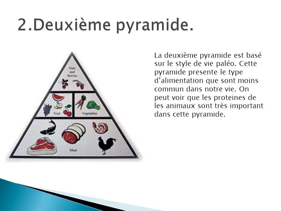 La deuxième pyramide est basé sur le style de vie paléo. Cette pyramide presente le type dalimentation que sont moins commun dans notre vie. On peut v