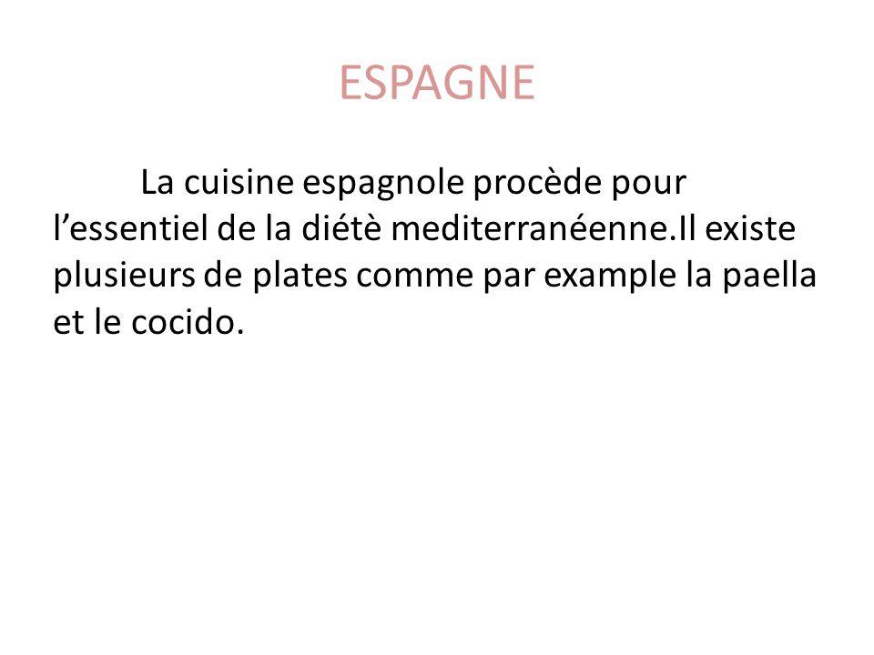 ESPAGNE La cuisine espagnole procède pour lessentiel de la diétè mediterranéenne.Il existe plusieurs de plates comme par example la paella et le cocid