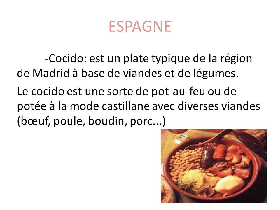 ESPAGNE -Cocido: est un plate typique de la région de Madrid à base de viandes et de légumes. Le cocido est une sorte de pot-au-feu ou de potée à la m