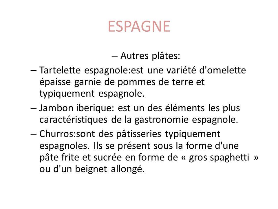 ESPAGNE – Autres plâtes: – Tartelette espagnole:est une variété d omelette épaisse garnie de pommes de terre et typiquement espagnole.