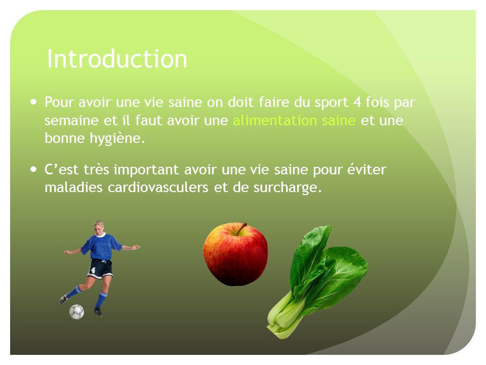 Introduction Pour avoir une vie saine on doit faire du sport 4 fois par semaine et il faut avoir une alimentation saine et une bonne hygiène.