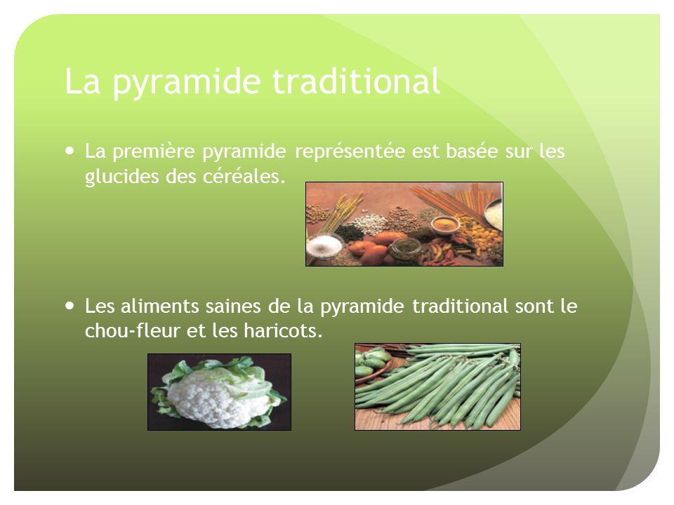 La pyramide traditional La première pyramide représentée est basée sur les glucides des céréales. Les aliments saines de la pyramide traditional sont