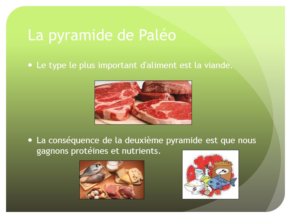 La pyramide de Paléo Le type le plus important d'aliment est la viande. La conséquence de la deuxième pyramide est que nous gagnons protéines et nutri