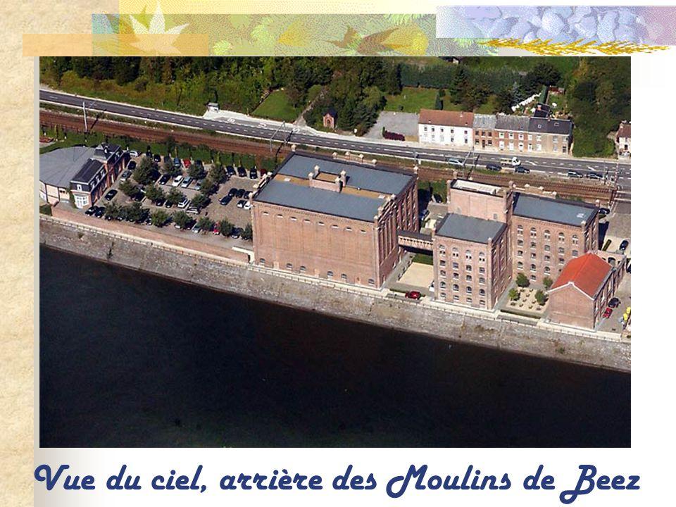 Les Moulins de Beez, la Meuse et le viaduc en arrière plan