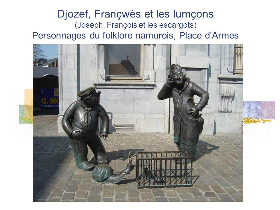 Djozef, Françwès et les lumçons (Joseph, François et les escargots) Personnages du folklore namurois, Place dArmes