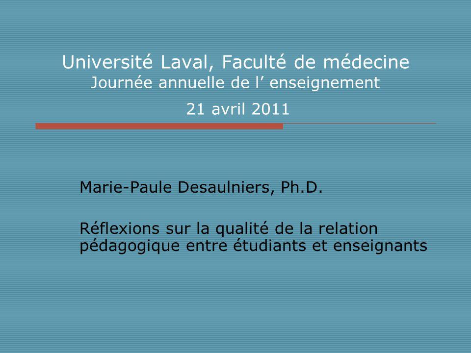 Université Laval, Faculté de médecine Journée annuelle de l enseignement 21 avril 2011 Marie-Paule Desaulniers, Ph.D.