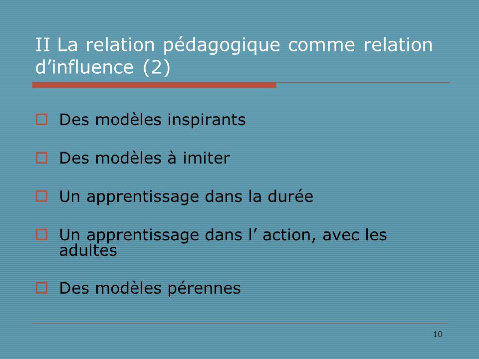 10 II La relation pédagogique comme relation dinfluence (2) Des modèles inspirants Des modèles à imiter Un apprentissage dans la durée Un apprentissage dans l action, avec les adultes Des modèles pérennes