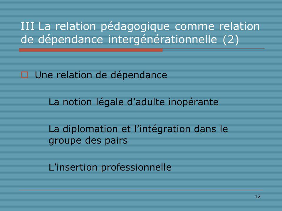 12 III La relation pédagogique comme relation de dépendance intergénérationnelle (2) Une relation de dépendance La notion légale dadulte inopérante La diplomation et lintégration dans le groupe des pairs Linsertion professionnelle