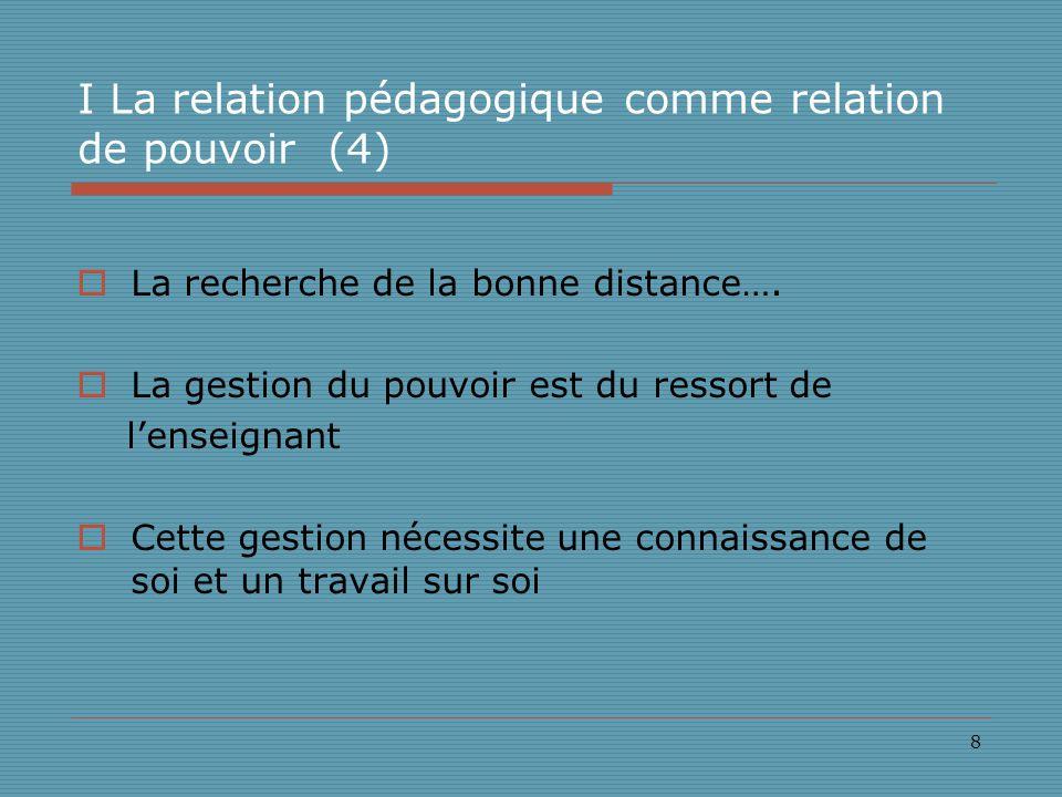 8 I La relation pédagogique comme relation de pouvoir (4) La recherche de la bonne distance….