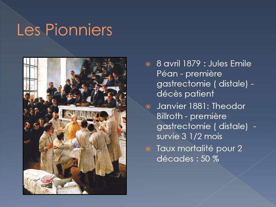 8 avril 1879 : Jules Emile Péan - première gastrectomie ( distale) - décès patient Janvier 1881: Theodor Billroth - première gastrectomie ( distale) -