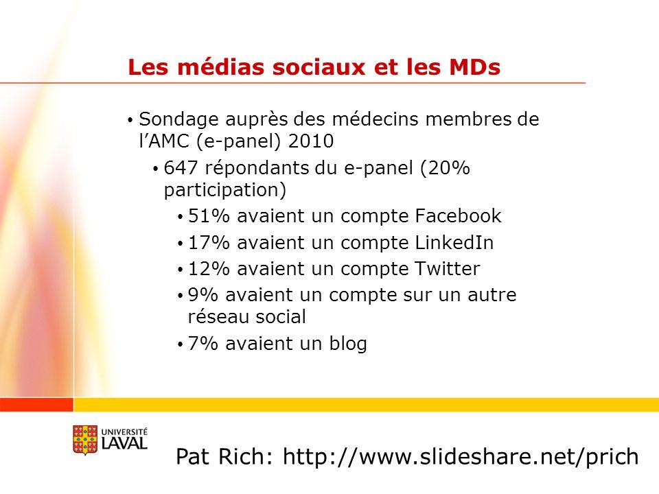 Les médias sociaux et les MDs Sondage auprès des médecins membres de lAMC (e-panel) 2010 647 répondants du e-panel (20% participation) 51% avaient un compte Facebook 17% avaient un compte LinkedIn 12% avaient un compte Twitter 9% avaient un compte sur un autre réseau social 7% avaient un blog Pat Rich: http://www.slideshare.net/prich