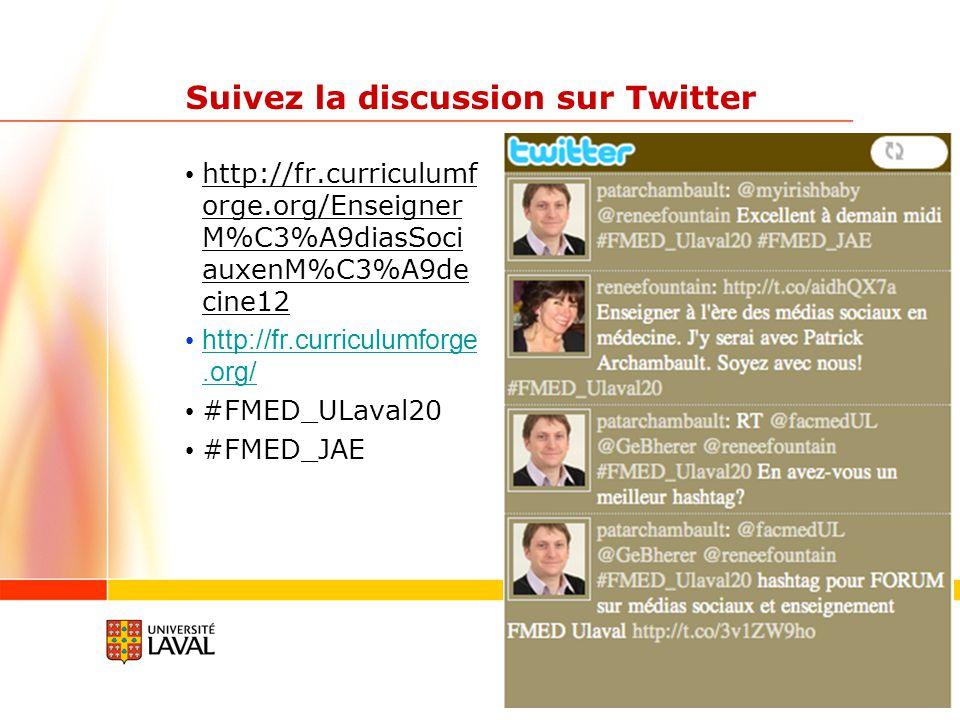 Participants à la JAE FMED Laval Sondage Survey Monkey https://www.surveymonkey.com/s/DLDCX9G 72/160 répondants inscrits à la JAE Usage de Wikipedia: 92% Compte Facebook: 50% Compte Dropbox: 36% Compte Google Docs: 27% Compte LinkedIN: 25% Compte Twitter: 19% YouTube: 12% Blogue: 6% Mendeley: 3%