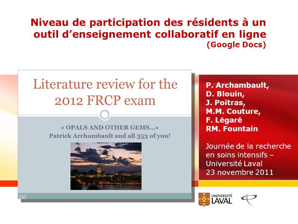 Niveau de participation des résidents à un outil denseignement collaboratif en ligne (Google Docs) P.