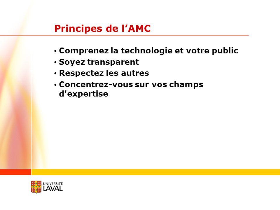 Principes de lAMC Comprenez la technologie et votre public Soyez transparent Respectez les autres Concentrez-vous sur vos champs d'expertise