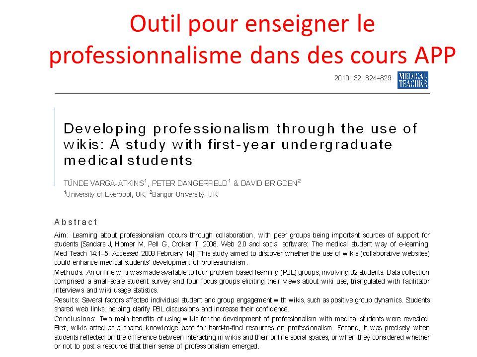 Outil pour enseigner le professionnalisme dans des cours APP