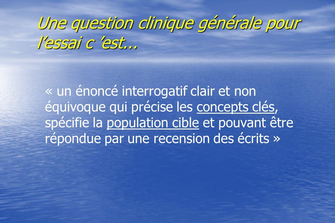 Question clinique générale 5 caractéristiques faisable intéressante originale pertinente opérationnelle