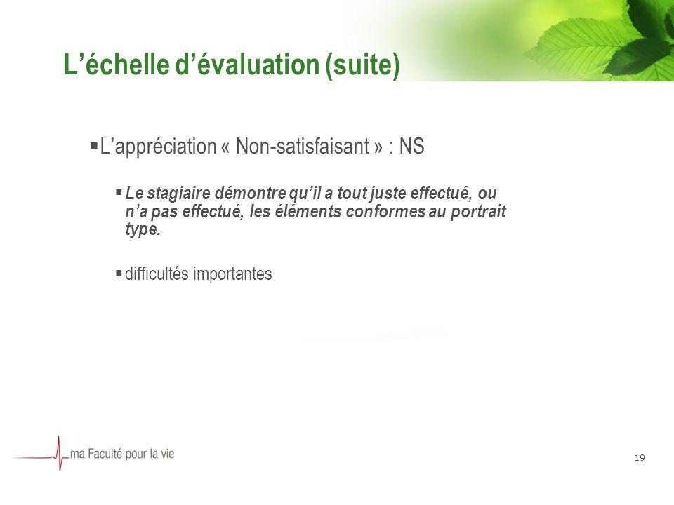 Léchelle dévaluation (suite) Lappréciation « Non-satisfaisant » : NS Le stagiaire démontre quil a tout juste effectué, ou na pas effectué, les éléments conformes au portrait type.