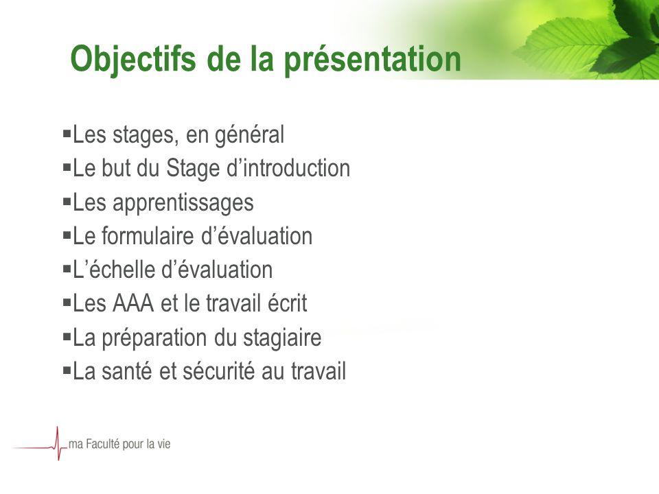 Objectifs de la présentation Les stages, en général Le but du Stage dintroduction Les apprentissages Le formulaire dévaluation Léchelle dévaluation Le