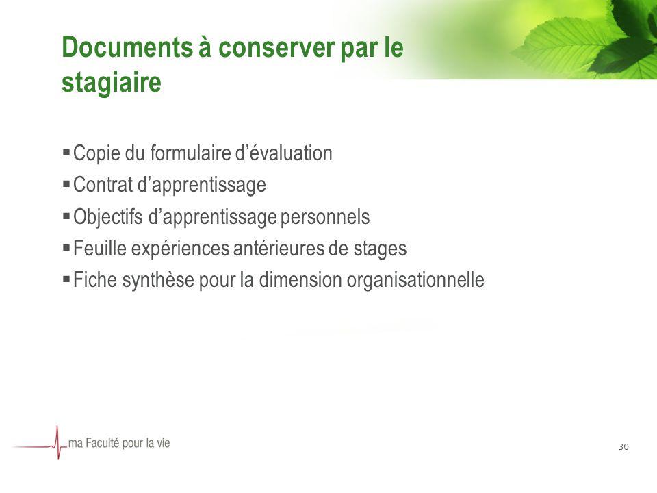 Documents à conserver par le stagiaire Copie du formulaire dévaluation Contrat dapprentissage Objectifs dapprentissage personnels Feuille expériences